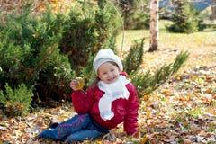 Niño hermoso en parque del otoño Imagen de archivo