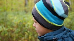 Niño hermoso que camina en el callejón en parque del otoño Actividades al aire libre Autumn Landscape metrajes