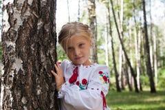 Niño iby un abedul en un bosque Fotografía de archivo