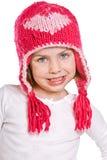 Niño joven lindo en sombrero rosado del invierno Imágenes de archivo libres de regalías