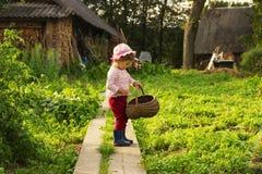 Niño lindo con la cesta grande que se divierte en el campo Imagen de archivo