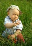 Niño maravilloso con alicates en la hierba verde Imágenes de archivo libres de regalías