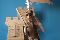 Niño medieval del caballero Foto de archivo