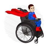 Niño minusválido en una silla de ruedas quiere a libre illustration