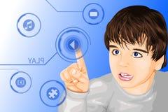 Niño moderno de la tecnología ilustración del vector