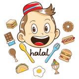 Niño musulmán con el ejemplo de la comida imagenes de archivo