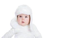 Niño o bebé del niño del invierno en sombrero Fotografía de archivo