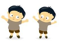Niño obeso antes y después Imagenes de archivo