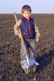 Niño pequeño a cavar en campo con la pala grande Foto de archivo