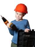 Niño pequeño con destornillador Imágenes de archivo libres de regalías