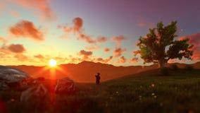 Niño pequeño con el aeroplano en el prado verde, árbol de la vida en la puesta del sol, criticando ilustración del vector