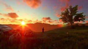 Niño pequeño con el juguete en un prado verde, árbol del aeroplano de la vida, puesta del sol hermosa stock de ilustración