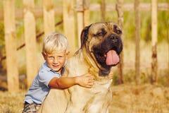 Niño pequeño con el perro grande Imagen de archivo libre de regalías