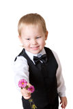 Niño pequeño con el ramo 3 Fotografía de archivo libre de regalías