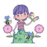 Niño pequeño con la mariposa y las abejas en el paisaje ilustración del vector