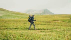 Niño pequeño con la mochila que camina en montañas verdes escénicas Fps de la cámara lenta 120 almacen de video