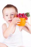 niño pequeño con las bayas frescas Foto de archivo libre de regalías