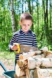 Niño pequeño con madera del sawing de la carretilla en bosque Imagen de archivo libre de regalías