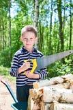 Niño pequeño con madera del sawing de la carretilla en bosque Foto de archivo libre de regalías
