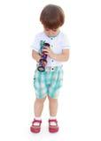 Niño pequeño con un telescopio Foto de archivo