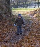 Niño pequeño con una cara triste, posiblemente paseos perdidos una trayectoria de bosque Fotos de archivo libres de regalías