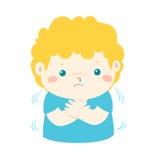 Niño pequeño con una historieta de temblor fría libre illustration