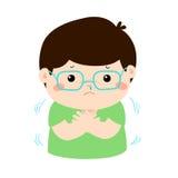 Niño pequeño con una historieta de temblor fría stock de ilustración
