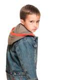 Niño pequeño con vuelta del ojo morado fotografía de archivo libre de regalías