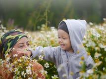 Niño pequeño en el prado de la manzanilla Fotos de archivo libres de regalías