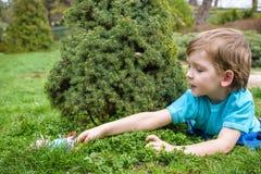 Niño pequeño en tiempo de primavera cerca del árbol del flor Fotos de archivo libres de regalías