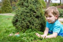 Niño pequeño en tiempo de primavera cerca del árbol del flor Imágenes de archivo libres de regalías