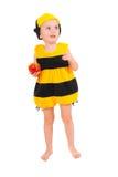 Niño pequeño en traje del carnaval de la abeja Imagenes de archivo