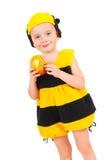 Niño pequeño en traje del carnaval de la abeja Imagen de archivo