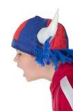 Niño pequeño en un casco del ventilador Fotografía de archivo
