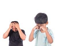 niño pequeño enojado su padre Fotos de archivo libres de regalías