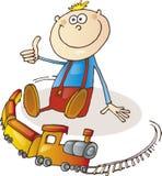 Niño pequeño feliz con el conjunto del tren stock de ilustración