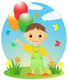 Niño pequeño feliz con los globos. Imagenes de archivo
