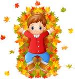 Niño pequeño feliz que juega con las hojas de otoño Foto de archivo