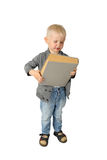 Niño pequeño lindo con el libro grande fotos de archivo