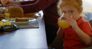 Niño pequeño lindo que bebe el zumo de naranja en la mesa de comedor 4k almacen de metraje de vídeo