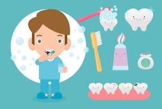 Niño pequeño lindo que cepilla sus dientes, niño que cuida para los dientes, niño que cepilla sus dientes, ejemplo divertido del  libre illustration