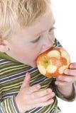 Niño pequeño lindo que come la manzana imagen de archivo libre de regalías