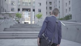 Niño pequeño lindo que lleva un traje de negocios con el caso que camina en la ciudad Niño como adulto metrajes
