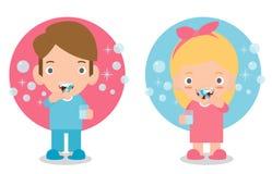 Niño pequeño lindo y muchacha que cepillan sus dientes, niño que cuida para los dientes, niño que cepilla sus dientes, ejemplo di stock de ilustración