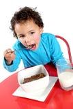 Niño pequeño que come el cereal de desayuno Foto de archivo libre de regalías