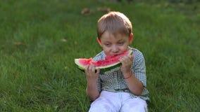 Niño pequeño que come la sandía en el parque en la hierba, primer metrajes