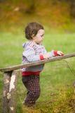 Niño pequeño que juega cerca de los registros Fotos de archivo libres de regalías