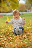 Niño pequeño que juega en el parque del otoño Foto de archivo libre de regalías