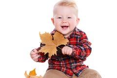 Niño pequeño que juega en el piso con las hojas de arce Imagenes de archivo