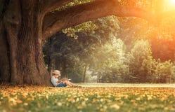 Niño pequeño que lee un libro debajo de árbol de tilo grande Foto de archivo
